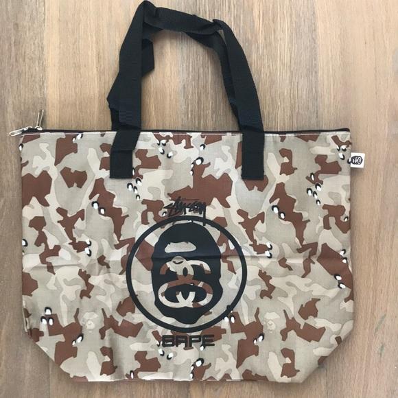 Bape Bags   X Stussy Camo Tote Bag Flawed Sale   Poshmark f9bb30fa5f